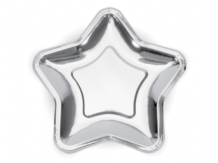 Silver Star Paper Party Plates - Large